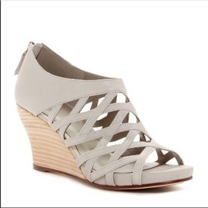 Eileen Fisher Gray cage lattice wedge heel